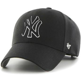 Cappellino visiera curva nero snapback con logo bianco e nero di New York Yankees MLB MVP di 47 Brand