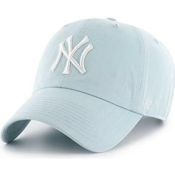 Cappellino visiera curva blu chiaro di New York Yankees MLB Clean Up di 47 Brand