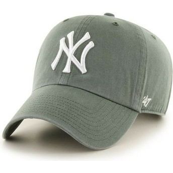 Cappellino visiera curva verde scuro di New York Yankees MLB Clean Up di 47 Brand