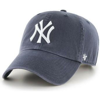 Cappellino visiera curva grigio denim di New York Yankees MLB Clean Up di 47 Brand