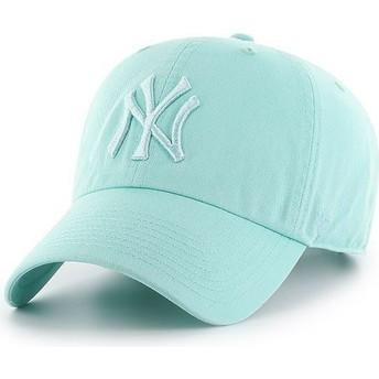 Cappellino visiera curva verde con logo verde chiarochiaro di New York Yankees MLB Clean Up di 47 Brand