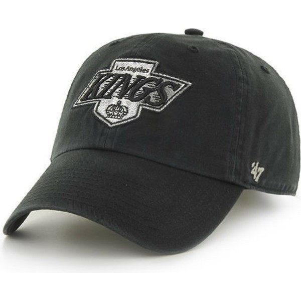 cappellino-visiera-curva-nero-con-il-vecchio-logo-di-los-angeles-kings-nhl-clean-up-di-47-brand
