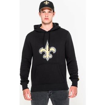 Felpa con cappuccio nera Pullover Hoodie di New Orleans Saints NFL di New Era