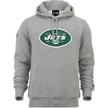Felpa con cappuccio grigia Pullover Hoodie di New York Jets NFL di New Era