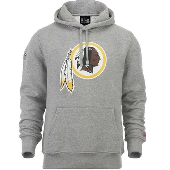 Felpa con cappuccio grigia Pullover Hoodie di Washington Redskins NFL di New Era