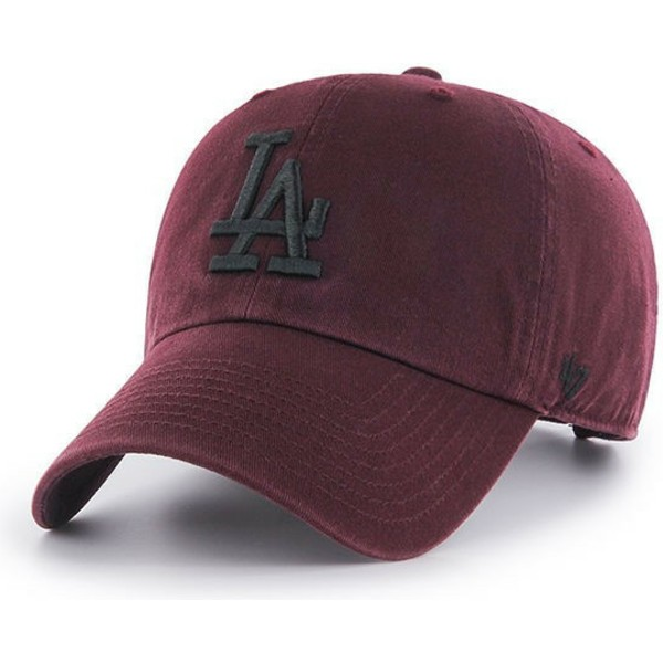 cappellino-visiera-curva-bordeaux-con-logo-nero-di-los-angeles-dodgers-mlb-clean-up-di-47-brand