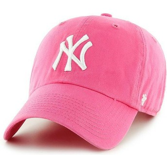 Cappellino visiera curva rosa di New York Yankees MLB Clean Up di 47 Brand