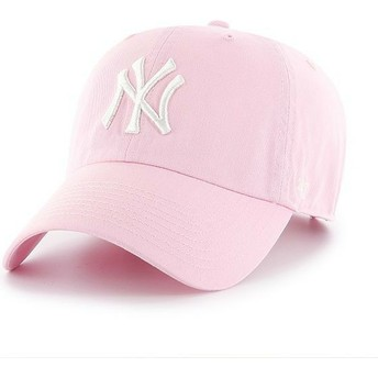 Cappellino visiera curva rosa chiaro di New York Yankees MLB Clean Up di 47 Brand