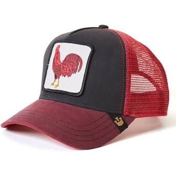 Cappellino trucker rosso e nero gallo Barnyard King di Goorin Bros.