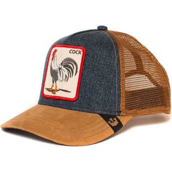 Cappellino trucker marrone e denim gallo Big Strut di Goorin Bros.