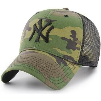 Cappellino trucker mimetico con logo nero di New York Yankees MLB Branson MVP di 47 Brand