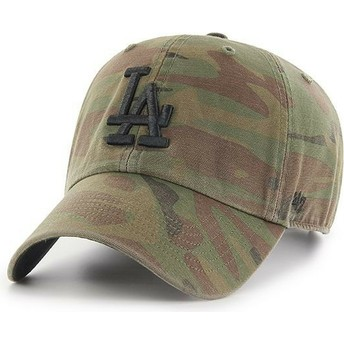 Cappellino visiera curva mimetico con logo nero di Los Angeles Dodgers MLB Regiment Clean Up di 47 Brand