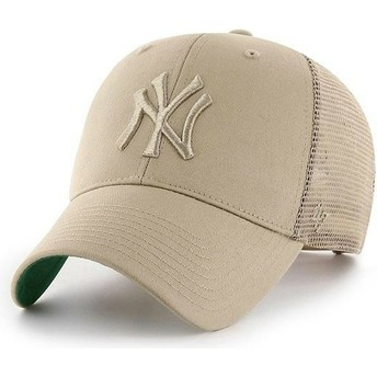 Cappellino trucker beige con logo beige di New York Yankees MLB MVP Branson di 47 Brand