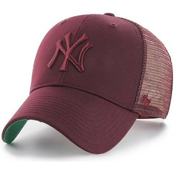 Cappellino trucker bordeaux con logo bordeaux di New York Yankees MLB MVP Branson di 47 Brand