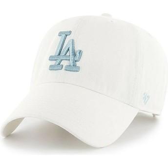 Cappellino visiera curva bianco con logo blu di Los Angeles Dodgers MLB Clean Up di 47 Brand