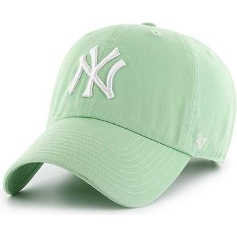 Cappellino visiera curva verde chiaro di New York Yankees MLB Clean Up di 47 Brand