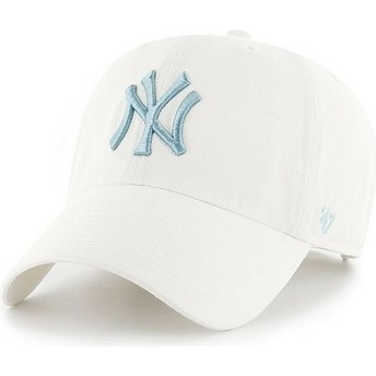 Cappellino visiera curva bianco con logo blu di New York Yankees MLB Clean Up di 47 Brand