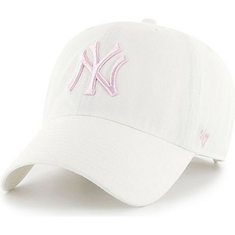 Cappellino visiera curva bianco con logo rosa di New York Yankees MLB Clean Up di 47 Brand
