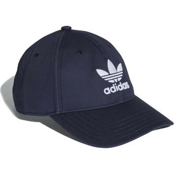 Cappellino visiera curva blu marino regolabile Trefoil Classic di Adidas