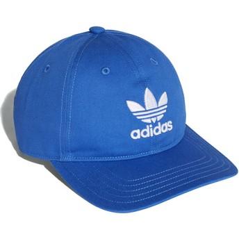 Cappellino visiera curva blu regolabile Trefoil Classic di Adidas