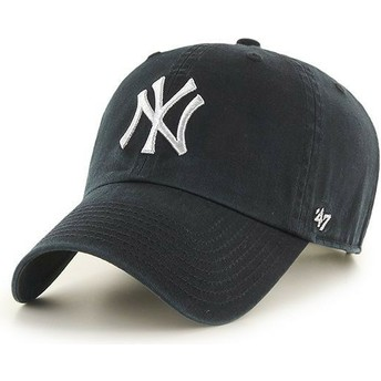 Cappellino visiera curva nero con logo argento di New York Yankees MLB Clean Up Metallic di 47 Brand