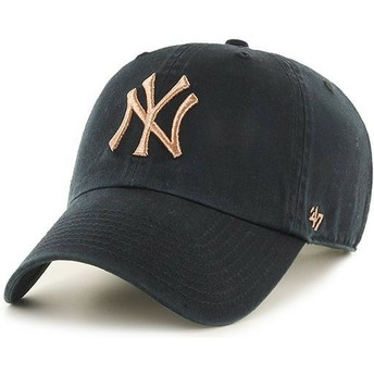 Cappellino visiera curva nero con logo bronzo di New York Yankees MLB Clean Up Metallic di 47 Brand