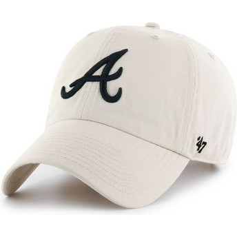 Cappellino visiera curva crema Atlanta Braves MLB Clean Up di 47 Brand