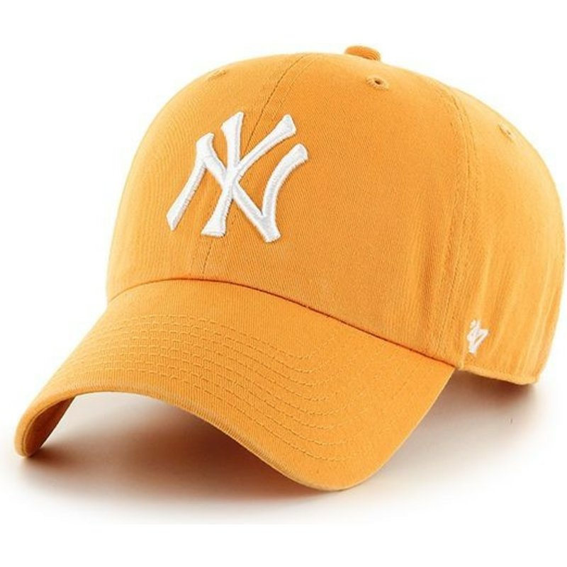 cappellino-visiera-curva-giallo-di-new-york-yankees-clean-up-di-47-brand