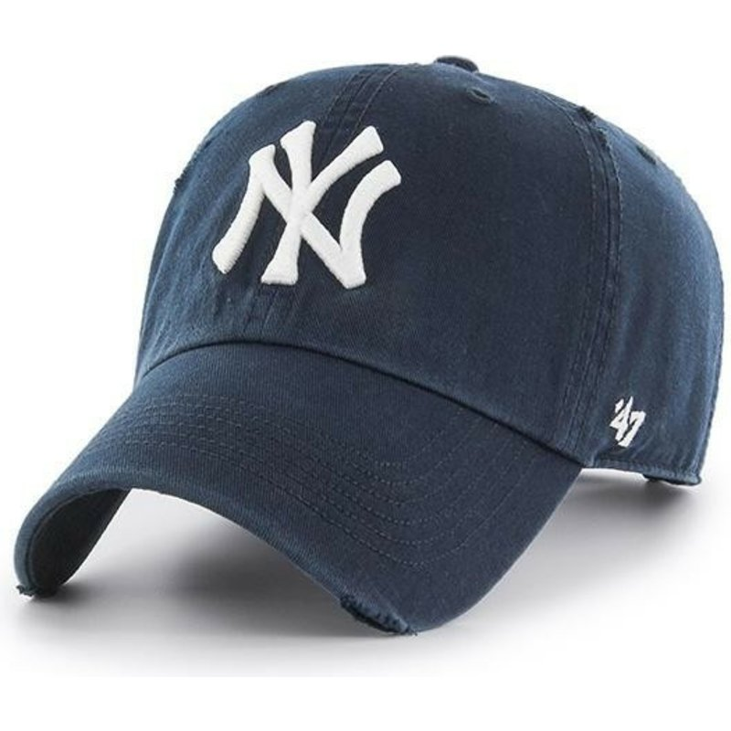 cappellino-visiera-curva-blu-marino-di-new-york-yankees-mlb-clean-up-ridge-di-47-brand