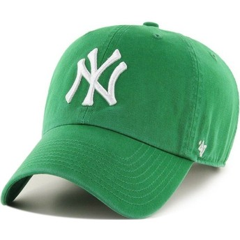 Cappellino visiera curva verde di New York Yankees MLB Clean Up di 47 Brand