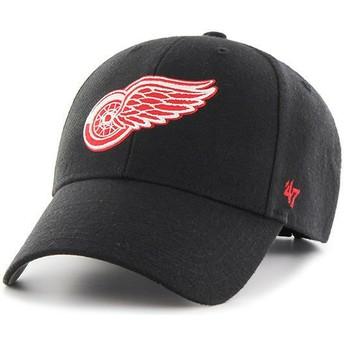 Cappellino visiera curva nero con logo rosso di Detroit Red Wings NHL MVP di 47 Brand
