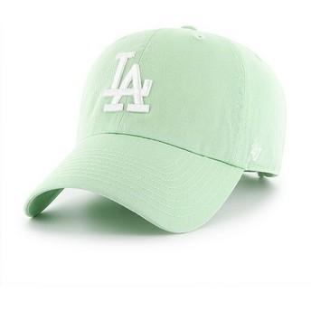 Cappellino visiera curva verde chiaro di Los Angeles Dodgers MLB Clean Up di 47 Brand