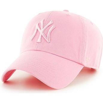 Cappellino visiera curva rosa con logo rosa di New York Yankees MLB Clean Up di 47 Brand