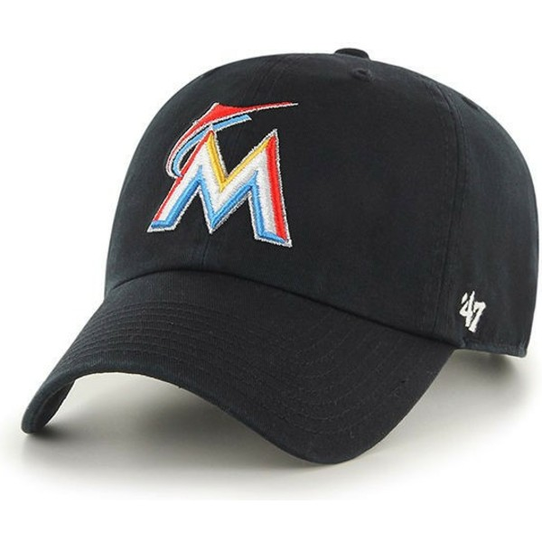 cappellino-visiera-curva-nero-di-miami-marlins-mlb-clean-up-di-47-brand