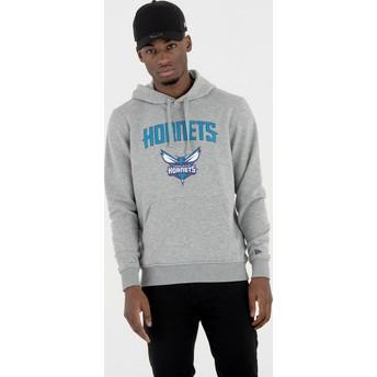 Felpa con cappuccio grigia Pullover Hoody di Charlotte Hornets NBA di New Era