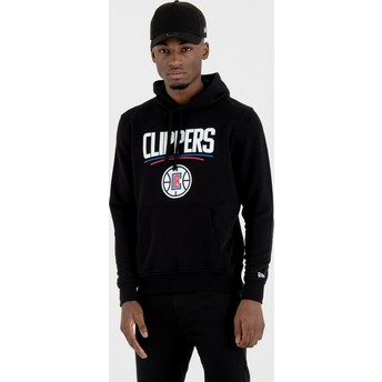 Felpa con cappuccio nera Pullover Hoody di Los Angeles Clippers NBA di New Era