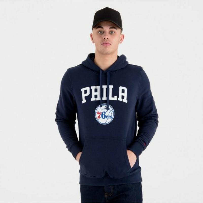 Felpa con cappuccio blu marino Pullover Hoody di Philadelphia 76ers NBA di New Era