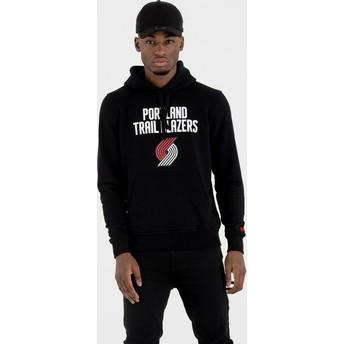Felpa con cappuccio nera Pullover Hoody di Portland Trail Blazers NBA di New Era