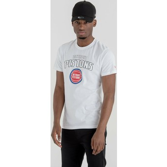 Maglietta maniche corte bianca di Detroit Pistons NBA di New Era
