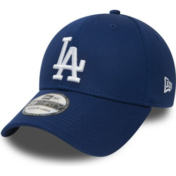 Cappellino visiera curva blu aderente 39THIRTY Essential di Los Angeles Dodgers MLB di New Era