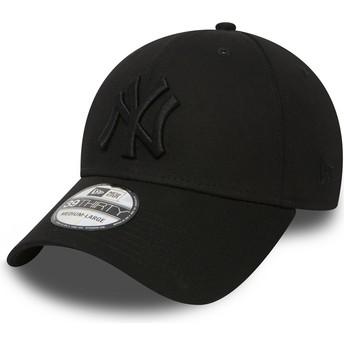 Cappellino visiera curva nero con logo nero aderente 39THIRTY Classic di New York Yankees MLB di New Era
