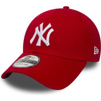 Cappellino visiera curva rosso aderente 39THIRTY Classic di New York Yankees MLB di New Era