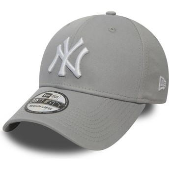 Cappellino visiera curva grigio aderente 39THIRTY Classic di New York Yankees MLB di New Era