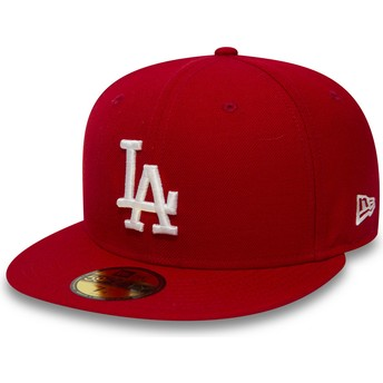 Cappellino visiera piatta rosso aderente 59FIFTY Essential di Los Angeles Dodgers MLB di New Era