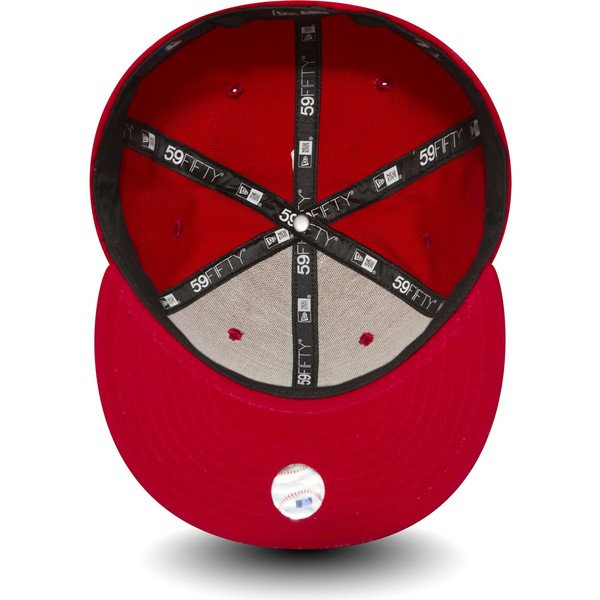 cappellino-visiera-piatta-rosso-aderente-59fifty-essential-di-los-angeles-dodgers-mlb-di-new-era