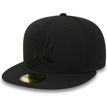 Cappellino visiera piatta nero aderente 59FIFTY Black on Black di New York Yankees MLB di New Era