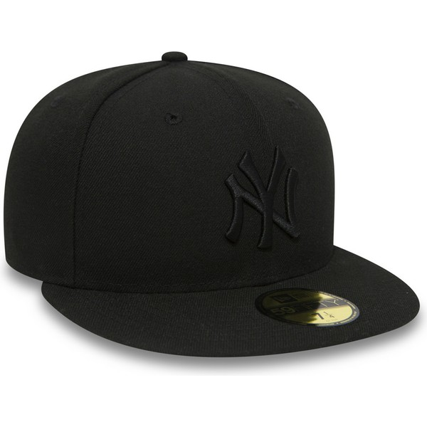 cappellino-visiera-piatta-nero-aderente-59fifty-black-on-black-di-new-york-yankees-mlb-di-new-era