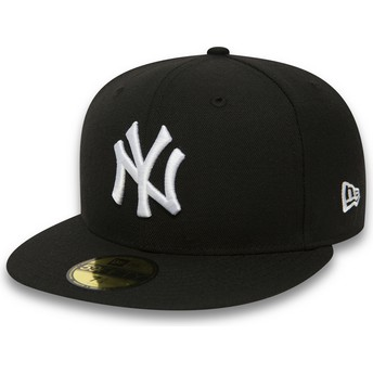 Cappellino visiera piatta nero aderente 59FIFTY Essential di New York Yankees MLB di New Era
