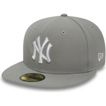 Cappellino visiera piatta grigio aderente con logo bianco 59FIFTY Essential di New York Yankees MLB di New Era