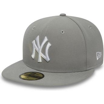 Cappellino visiera piatta grigio aderente con logo bianco 59FIFTY Essential di New York Yankees MLB di New Era